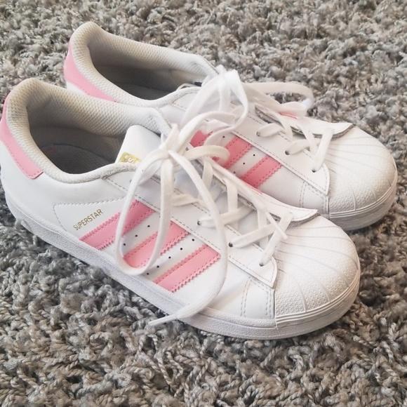 Girls Superstar Adidas Pink Shoes Size